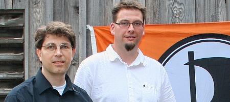 Piraten für Liquid Feedback: Dr. Olaf Konstantin Krueger, Roland Jungnickel. Foto: Flo Schneider